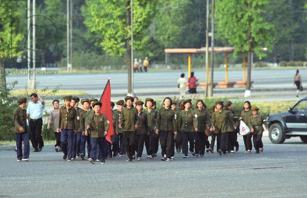 Korean People'S Democratic Republic, , October 17 2002: Young Pioneers of North Korea Pictured Marching Along the Streets of Pyongyang, the Capital of the Kpdr Under the Red Flag , (Photo Itar-Tass/ Boris Kavashkin).
