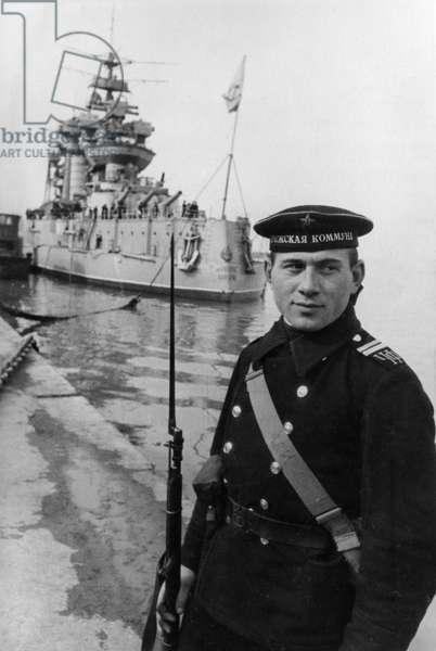 Black Sea Fleet, a Soviet Sailor on Watch at the Battleship Paris Commune, March 1943.
