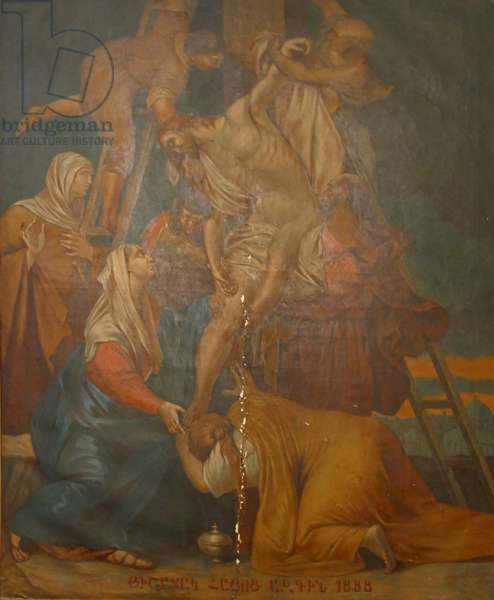 Greek Orthodox, Christian painting of the deposition of Christ, Palestine