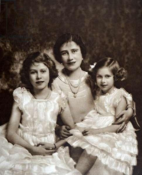 Queen Elizabeth with her daughters Elizabeth (later Queen Elizabeth II and Princess Margaret 1937