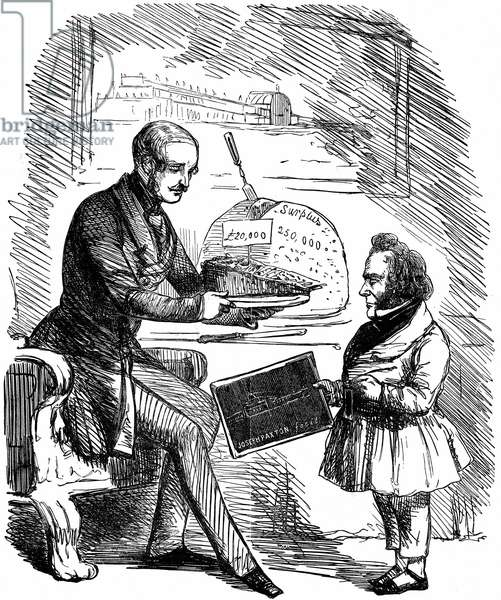 Albert, Prince Consort of Queen Victoria, handing Joseph Paxton, designer of the Crystal Palace, a £20,000 slice of 'Solid Pudding' from the surplus funds from the Great Exhibition of 1851 in Hyde Park, London. John Tenniel cartoon from Punch. Wood engraving