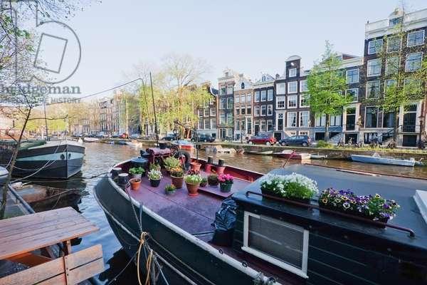 Houseboat on Prinsengracht, Amsterdam, Netherlands (photo)