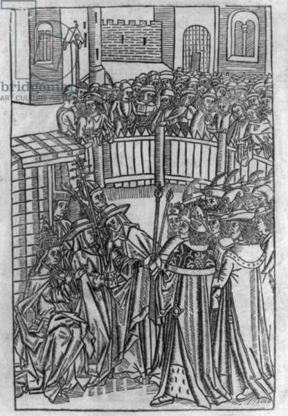 Pope Urban II urging kings and knights to join a Crusade, Nov. 1095 woodcut published ca. 1486.