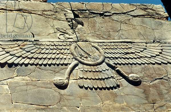 Winged symbol of Ahura Mazda, worshipped by the Zoroastrians. Persepolis: Royal Audience Hall of Darius, c500 BC.