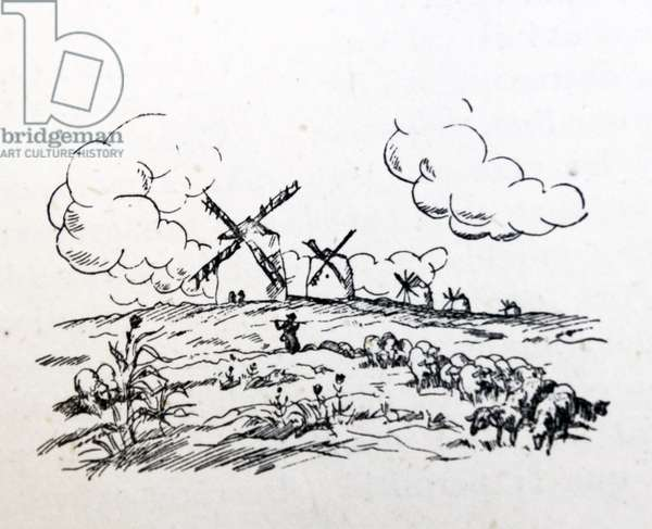 Illustration showing a rural scene with windmills in central Spain