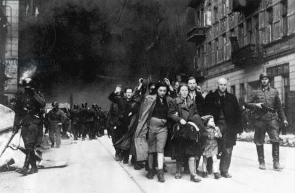 Jewish civilians captured during the destruction of the Warsaw Ghetto, Poland