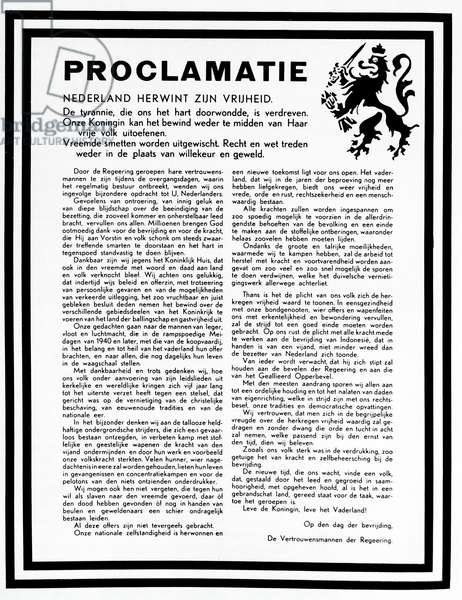 The first public proclamation marking the end of world war two in Holland, 1945