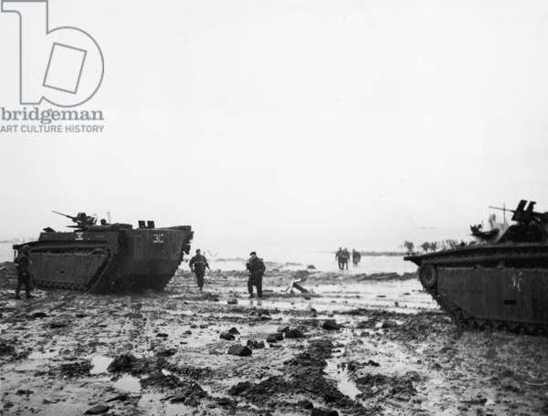 At dawn on November 1st British Commando troops invaded the island of Walcheren at the mouth of the Scheldt, 1944 (b/w photo)
