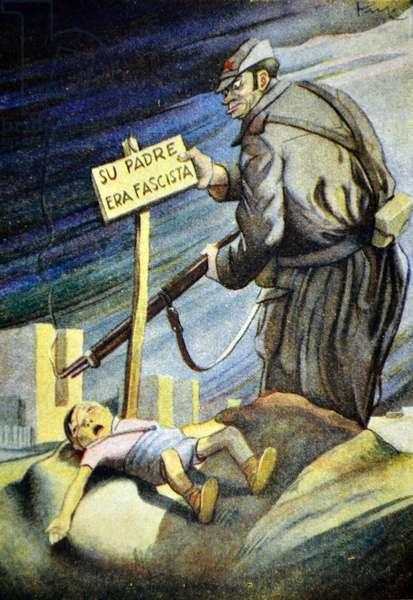 We are advocates for children'. Spanish Civil war, anti-republican propaganda illustration by Carlos Sáenz de Tejada
