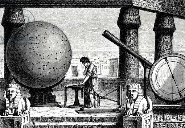 An engraving depicting an imaginative reconstruction of Ptolemy of Alexandria in his observatory. Claudius Ptolemy (d. 160 AD) Greco-Roman mathematician, astronomer, geographer, astrologer, and poet, 19th century