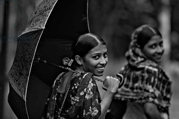 Young girls, on their way to work in a Garment Factory, in Dhaka, Bangladesh. 2007.  (photo)