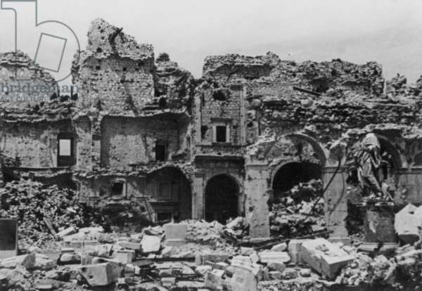 The Ruins of Cassino, 1942 (b/w photo)