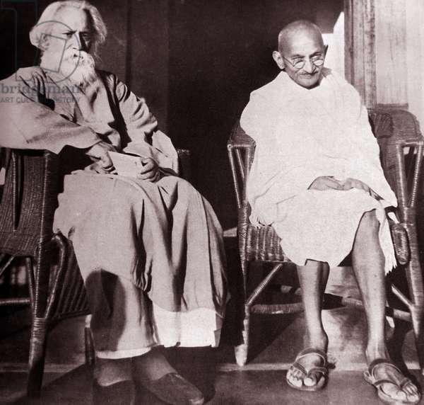 Mohandas Karamchand Gandhi With Rabindranath Tagore at Santiniketan, 1940