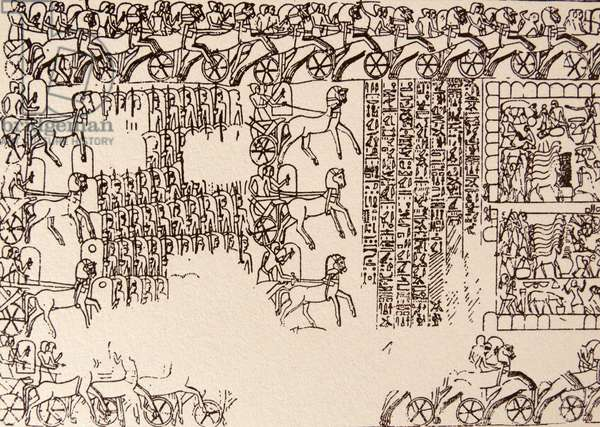 Deatail from a freize showing the Battle of Kadesh (Qadesh) between the Egyptian Empire under Ramesses II and the Hittite Empire under Muwatalli II