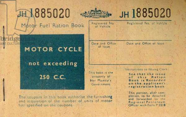 World war Two British fuel ration book 1941