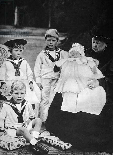 Queen Victoria with some of her young Grandchildren