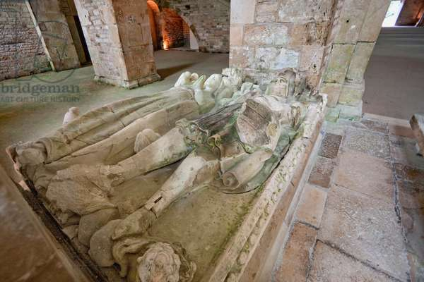 Tomb of Mello and His Wife Deposited in the Abbey Church of the Cistercian Abbey of Fontenay, Cote D'or, France (photo)