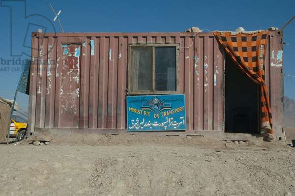 Checkpoint of the Ministry of Transport Housed in A Container in the Outskirts of Kabul, Afghanistan (photo)