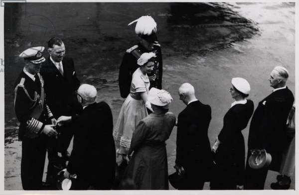 Queen Elizabeth II arriving on the SS Gothic