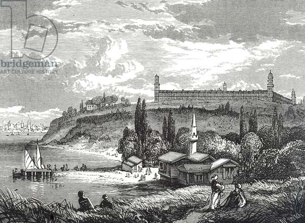 Engraving depicting the Selimiye Barracks Hospital, in which Florence Nightingale worked during the Crimean War between 1854-1857