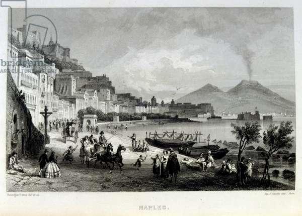 Mediterranean coast off Naples, Italy, 1862. French illustration