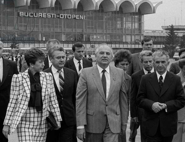 Mikhail Gorbachev With Wife Raisa Gorbacheva And Nicolae Ceausescu In The Airport At Bucharest