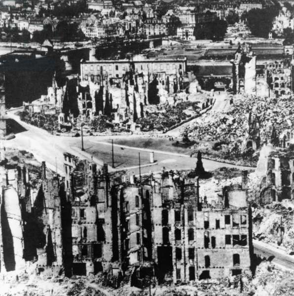 Dresden, Germany in 1945 after the Bombing that Destroyed the City at the End of World War 2.