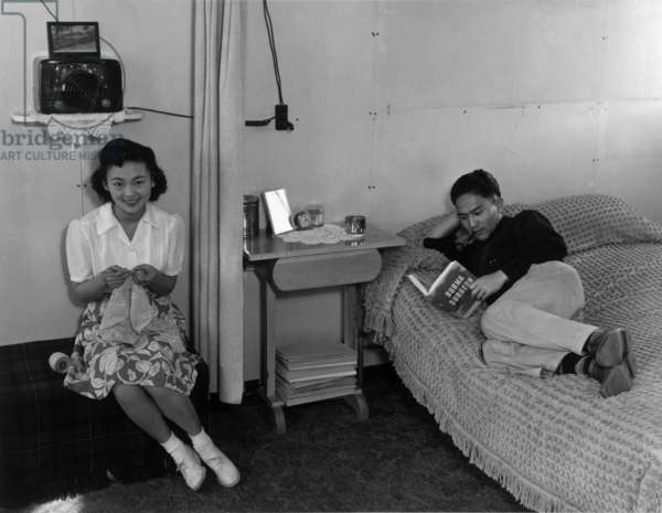 Mr. and Mrs. Dennis Shimizu, Manzanar Relocation Center, California, 1943 (photo)