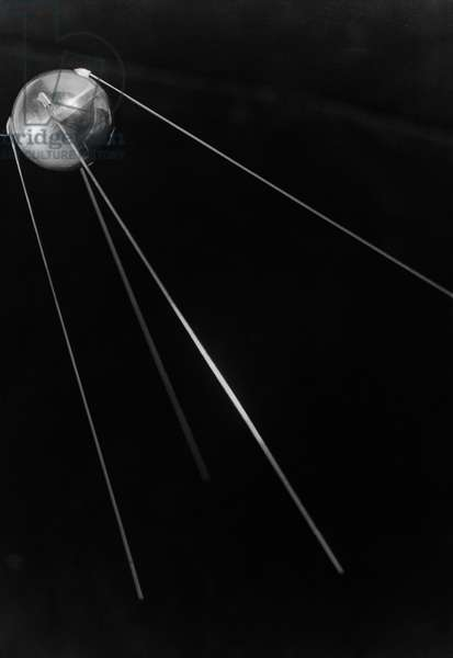 Sputnik 1, the First Artificial Earth Satellite, Launched by the Soviet Union on October 4, 1957.