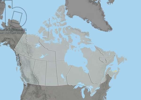 Prince Edward Island, Canada, Relief Map