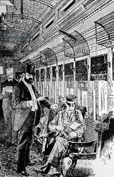Telegraphing from a train in motion, 1888