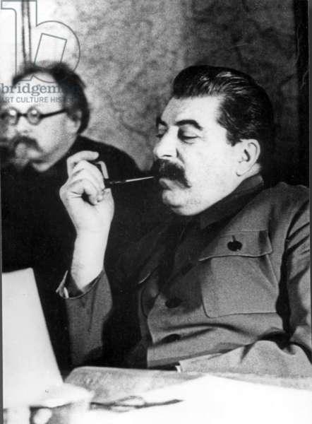 Stalin with G, Piatakov, 1936.