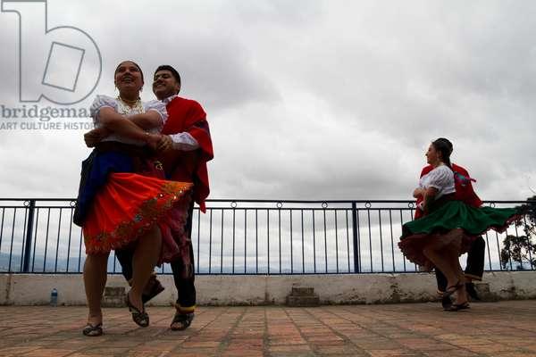 Folkloric dance troupe performing dances on the Mirador de Turi (photo)