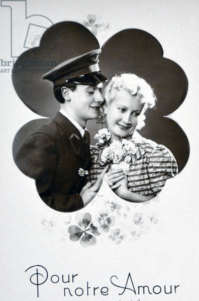 World War Two: Sentimental French postcard for civilians to send to their men at the frontline.