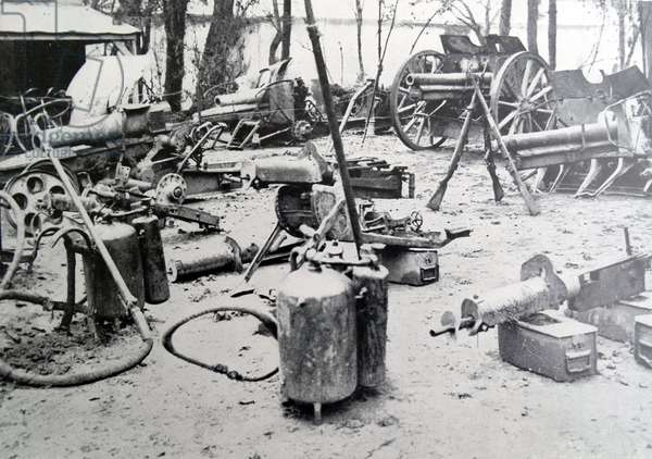 Abandoned german artillery and flame throwers, 1915