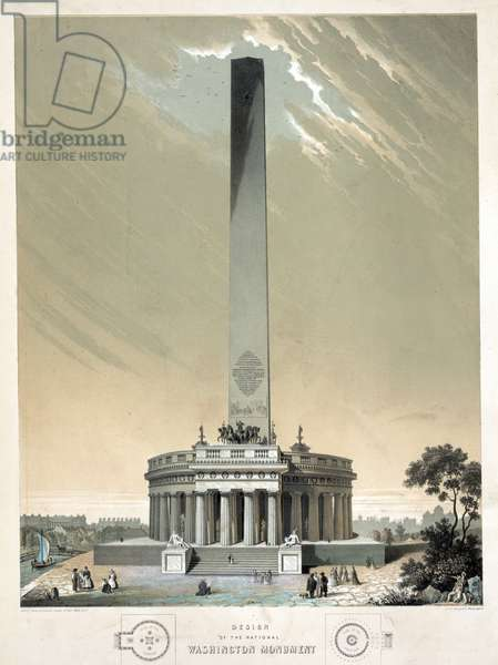 Design of the national Washington Monument, 1860 (black and white lithograph)
