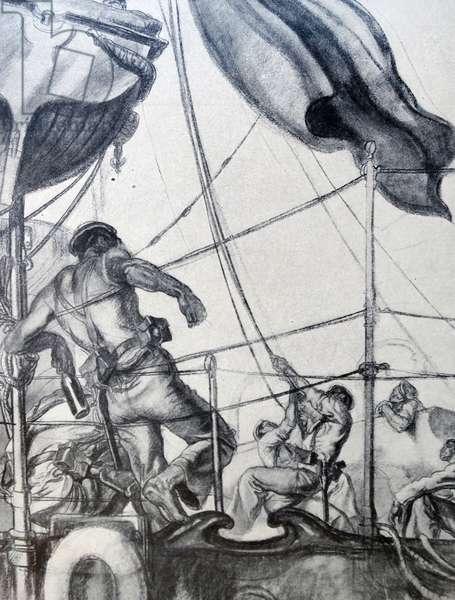 Propaganda illustration depicting Republican sailors in a mutiny
