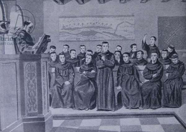 Engraving of a typical monastic school of the Charlemagne period