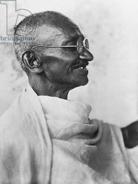 Indian leader Mahatma Gandhi, India, May,  1930 (b/w photo)