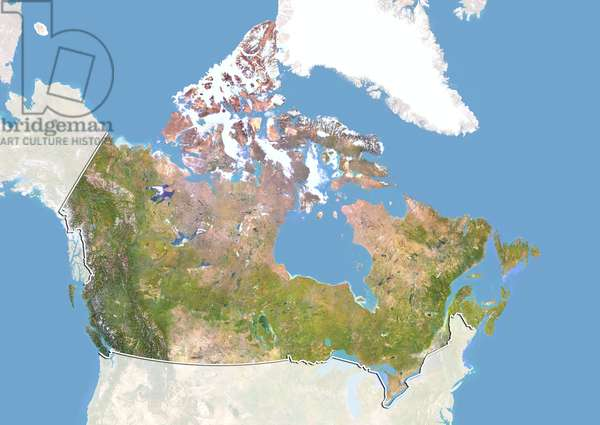 Canada, Satellite Image With Bump Effect, With Border and Mask