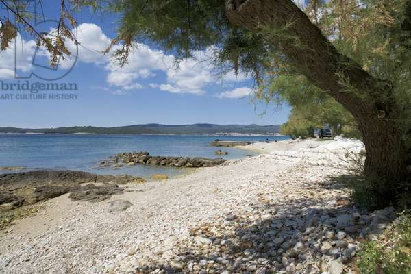 Croatia, Orebic, pebble beach on Dalmatian coastline