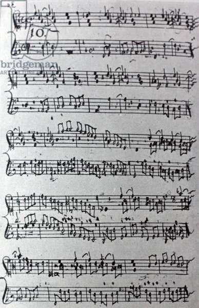 Handwritten sheet music by Antonio Martin y Coll
