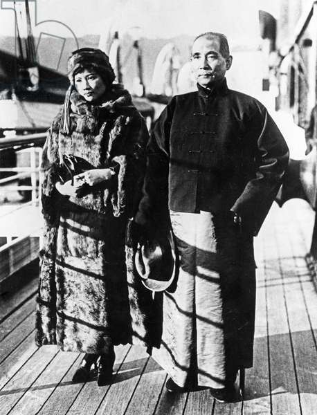Dr. Sun Yat-sen with his second wife, Soong Ching-ling, during a journey by ship from Canton to Peking in the Winter of 1924