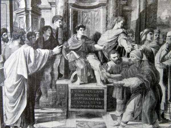 Elymas struck blind. cartoon by Raphael