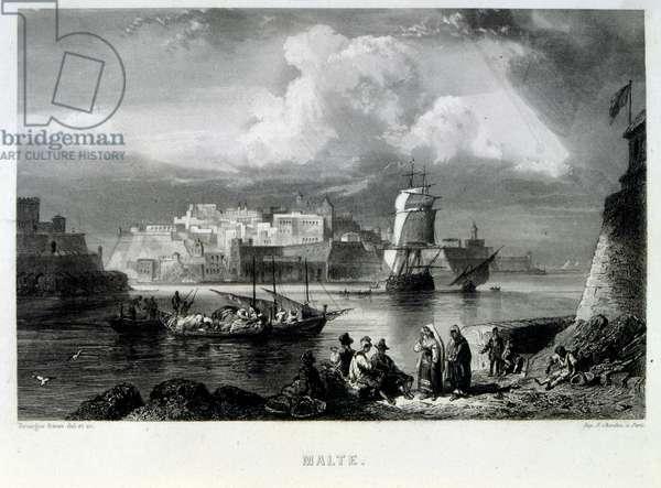 Mediterranean coast off Malta, 1862. French illustration