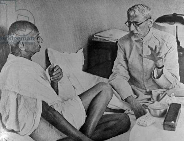 Mohandas Karamchand Gandhi with Maulana Azad (Moslem