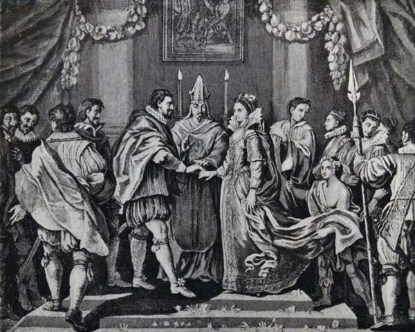 Engraving depicting the marriage of King Charles I and Henrietta Maria of France