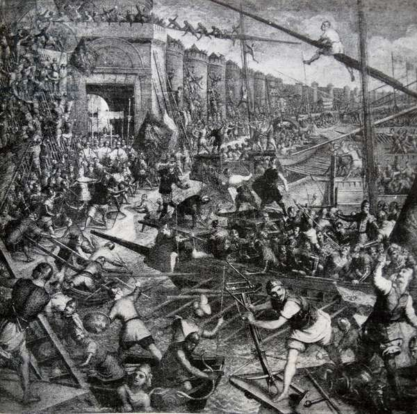 The taking of Constantinople by the Venetians and crusaders
