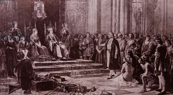 Engraving depicting Christopher Columbus in the Palace of the King and Queen of Spain