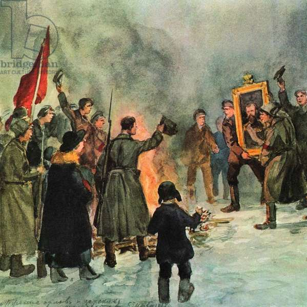 Russian revolution: St Petersburg crowds of soldiers and rebels burn Tsarist emblems and portrait of Nicholas II